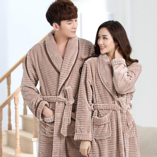 2d2d50131f 100% Coral Fleece Couples bathrobe thick flannel bathrobe winter autumn  thickening terry women cotton robe men chinese kimono