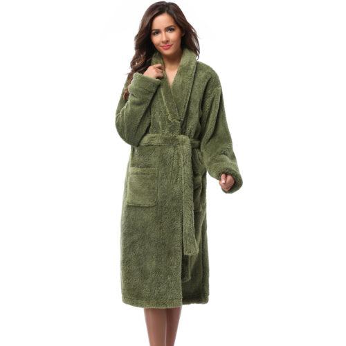Winter Warm Women Robes 2018 Coral Fleece Sleepwear Long Robe Woman Hotel  Spa Plush Bathrobe Solid Nightgown Kimono Pijama 9d3716f6c