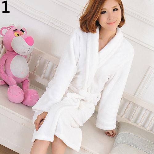 Men Women Loose Long Sleepwear Comfortable Bathrobe Coral Fleece Spa Robe d9ae2bcf7