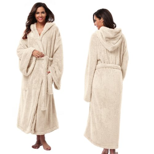 Women s Hooded Thick Robes Soft Coral Fleece Warm Long Bathrobe Plush  Kimono Sleepwear Nightgown Winter Spa Robe With Pocket 1aa6f7779