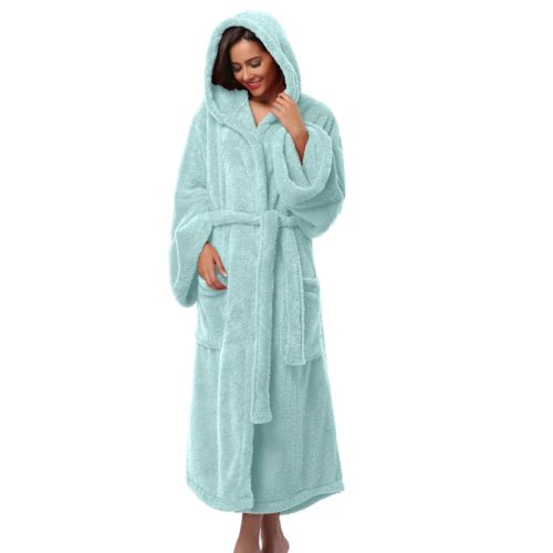 Women s Hooded Thick Robes Soft Coral Fleece Warm Long Bathrobe Plush  Kimono Sleepwear Nightgown Winter Spa Robe With Pocket a8159d1b0