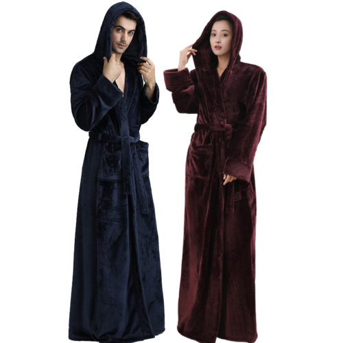 Women Hooded Extra Long Warm Bathrobe Hot Thickening Flannel Winter Kimono Bath  Robe Men Thermal Dressing Gown Bridesmaid Robes 8250110ab
