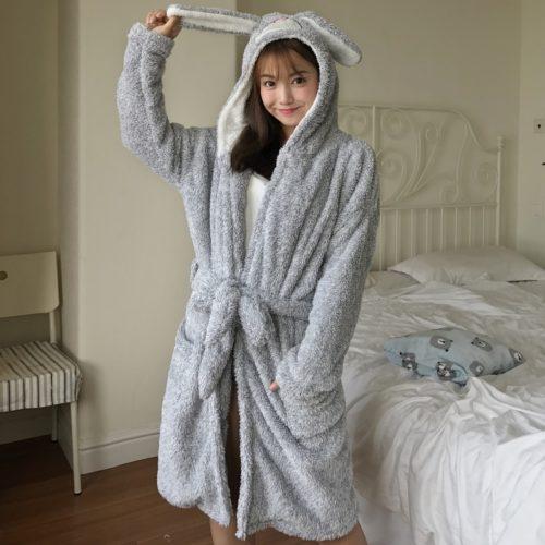 Women s Robes Cute Cartoon Cat Hooded Oneside Bath Robe Plush Coral Fleece  Kigurumi Nightgowns Female Winter Thicken Sleepwear 3d8322809