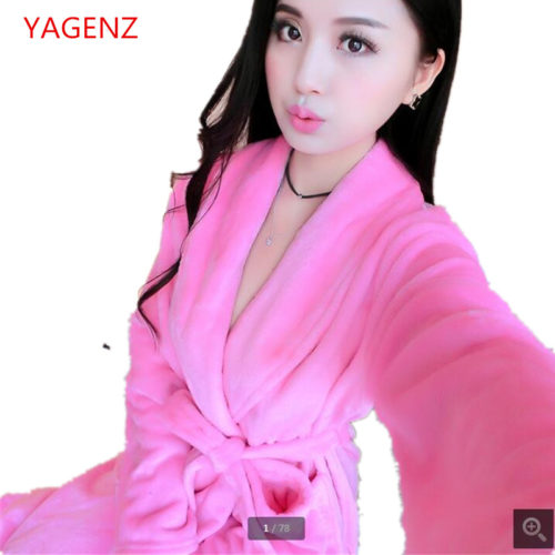 819bb12bb5 2018 Warm pajamas Ms bathrobe Large size pajamas NEW Coral fleece thick  Soft and comfortable Women winter Sleeping robe BN3120