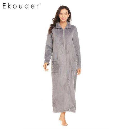 b127dd64c2 Ekouaer Women Winter Sleepwear Nightwear Kimono Robe Plush Soft Warm Robe  Turtleneck Full Zip Female Fleece SPA Bathrobes
