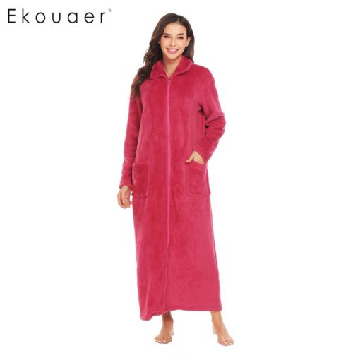 526e4b3ba1 Ekouaer Women Winter Sleepwear Nightwear Kimono Robe Plush Soft Warm Robe  Turtleneck Full Zip Female Fleece SPA Bathrobes