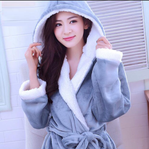 cedf0caf1d Autumn Winter Flannel Couple Bathrobe With Hood Ladies Robes Nightgown Home  Clothes Warm Bath Robe Dressing Gowns For Women Men