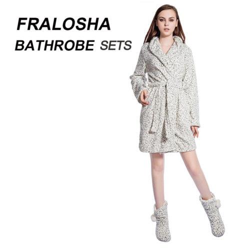 FRALOSHA Women Leopard Warm Flannel Bath Robe Bridal Bathrobe Nightwear  Kimono Dressing Gown Sleepwear Bath Robe For Ladies d99617f83
