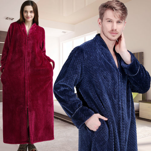 1dcdccdca0 Women Winter Extra Long Thick Warm Bath Robe Plus Size Zipper Luxury Flannel  Peignoir Pregnant Bathrobe Men Coral Fleece Robes