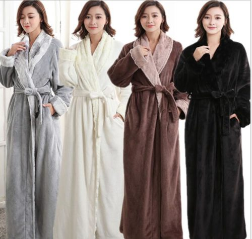 Autumn and winter thick flannel robe long neutral faux fur collar warm  Femme Long Sleeve Home Bathrobe Dressing Gowns For Women cc53332a6