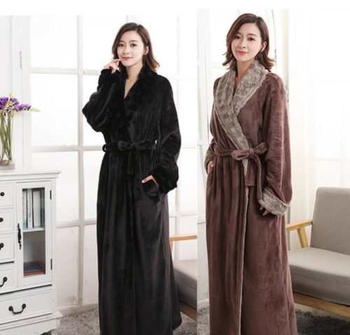3f0d38dfcaaa Autumn and winter thick flannel robe long neutral faux fur collar warm  Femme Long Sleeve Home Bathrobe Dressing Gowns For Women