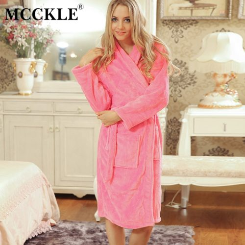 MCCKLE Women s Sashes Solid Sexy Flannel Sleep Robe 2018 Autumn Female  Sleepwear Nightgown Ladies Long Sleeve Vintage Bathrobes 11bef5443